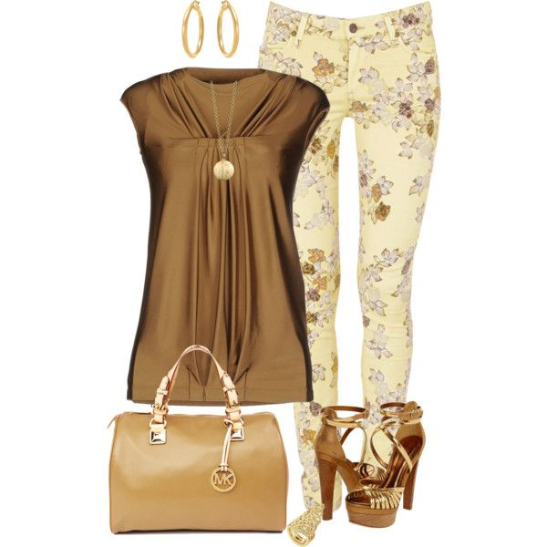 yellow stretch denim jeans, floral print, sand top, shoes and accessories ~~~ love these colors