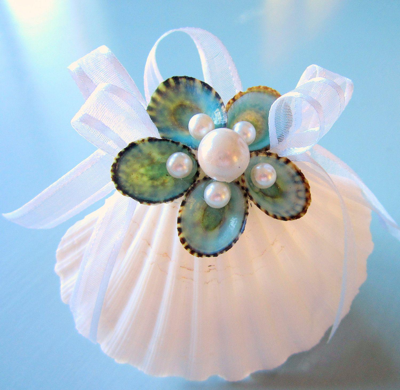 Seashell christmas ornaments - Beach Decor Seashell Christmas Ornament Nautical Holiday Ornament W Aqua Limpet Shells 14 00
