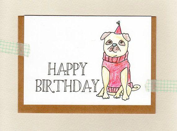 Personalised birthday cards online australia drive pug happy birthday puggy birthday thank you custom personalised greeting card m4hsunfo