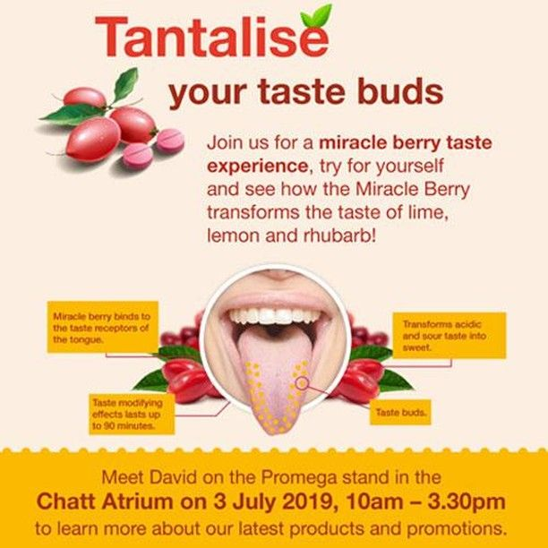 Tantalise your taste buds!  Meet David on the Promega stand in the Chatt Atrium John Innes Centre today (10.00 a.m. to 3.30p.m.) to learn more about our latest products and promotions.  Join us for a fun tasting session and experience how the Miracle Berry transforms the taste of lime lemon and rhubarb!  Alternatively if you are in the #Southampton area you can also catch up with Leanne and Karen who are back again for the final day of the BSPR - British Society for Proteome Research Meeting at