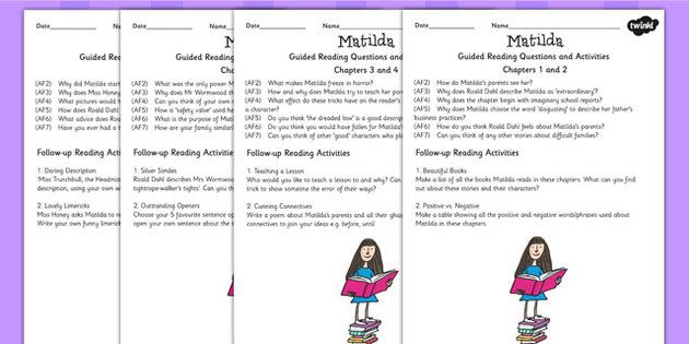 Matilda Guided Reading Sheets for Teachers - read, book, stories ...
