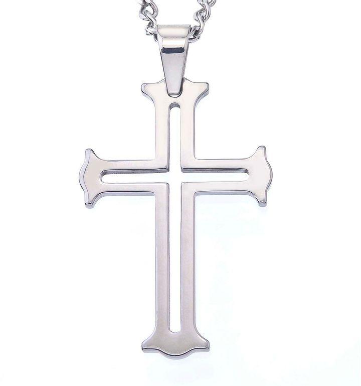 Fine jewelry mens tungsten cutout cross pendant necklace