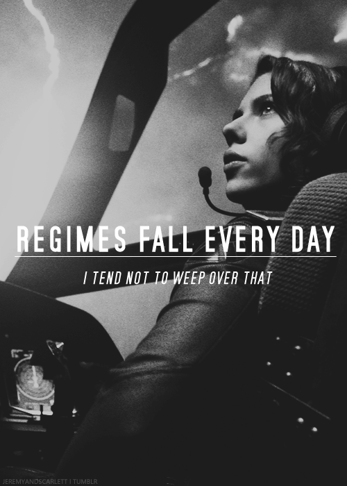 Regimes fall every day. I tend not to weep over that, I'm Russian...or at least I was...