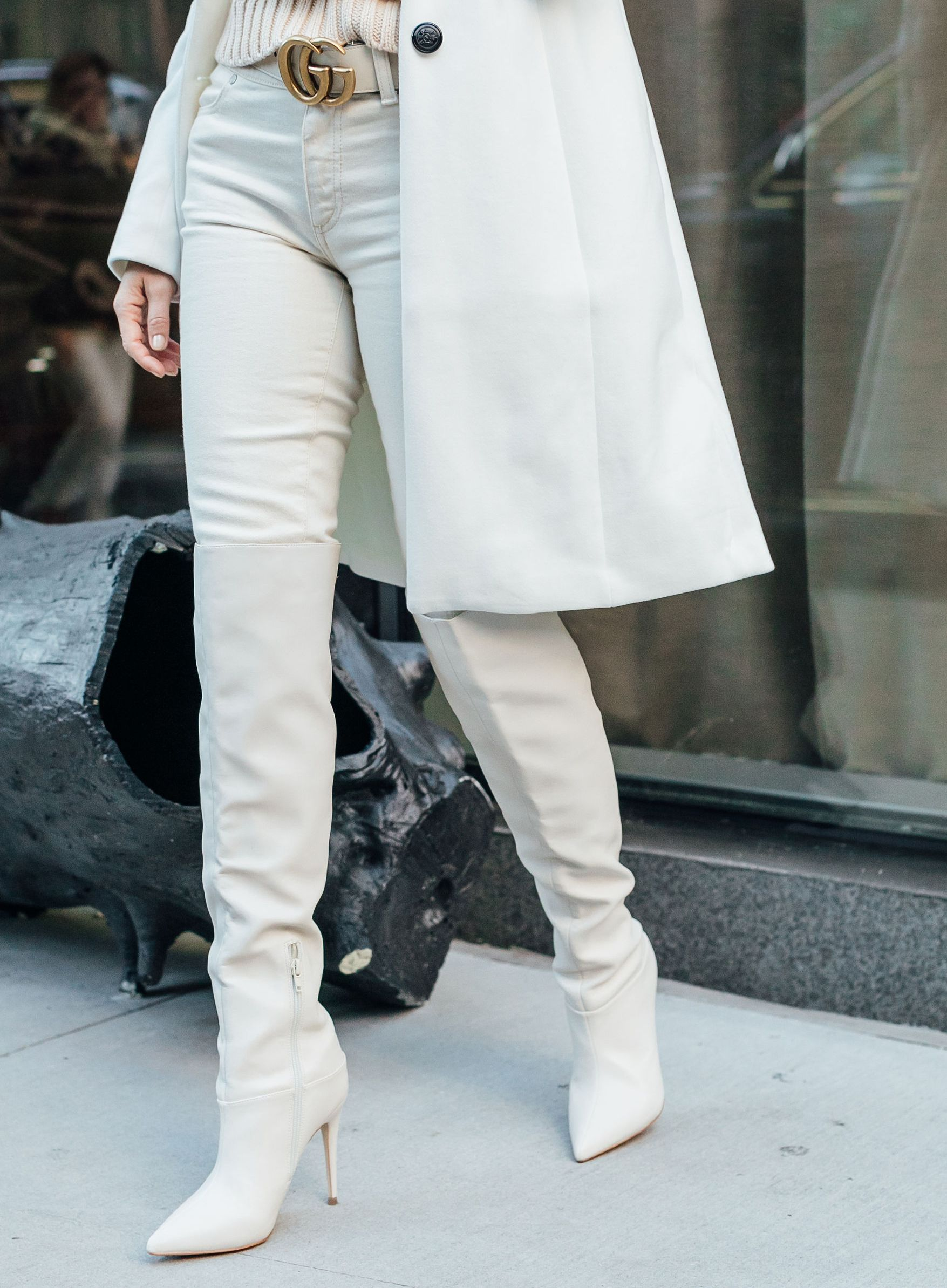 8263bc30b46 Sydne Style wears guess white over the knee boots for winter shoe trends   overthekneeboots  whiteboots  boots  sydnesummer
