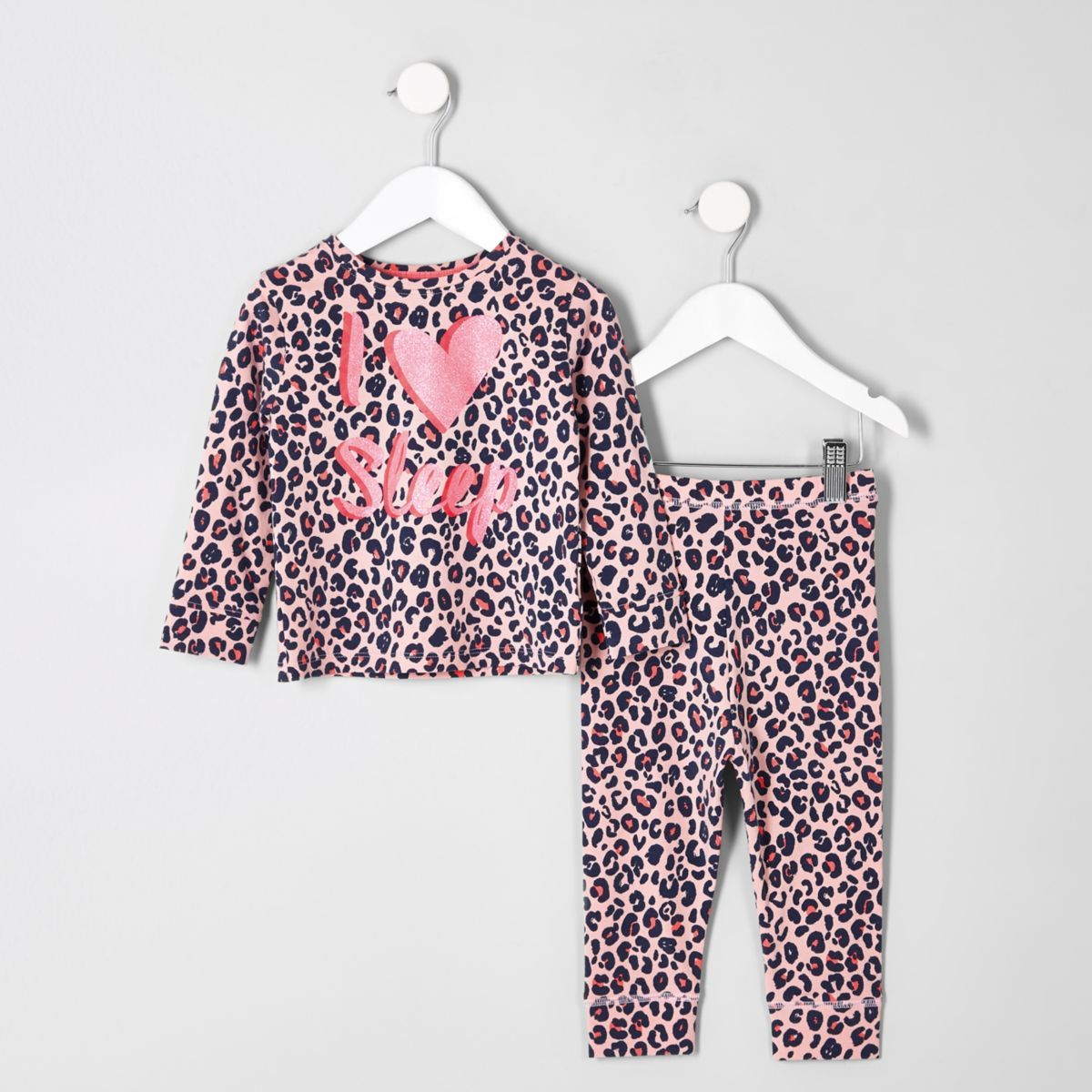 Mini Girls Pink Leopard Print Pyjama Set Toddler Outfits Baby