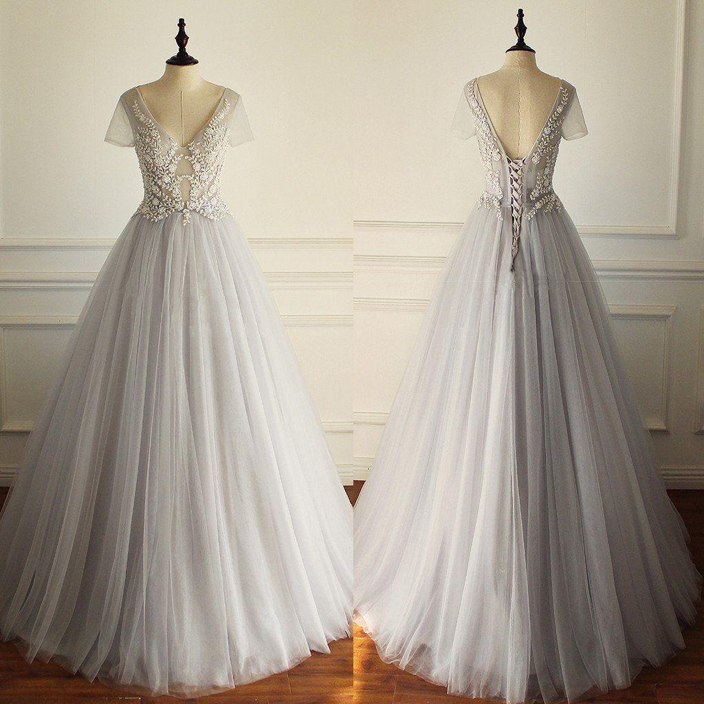 的 charming tulle short sleeves gorgeous v neck sexy wedding