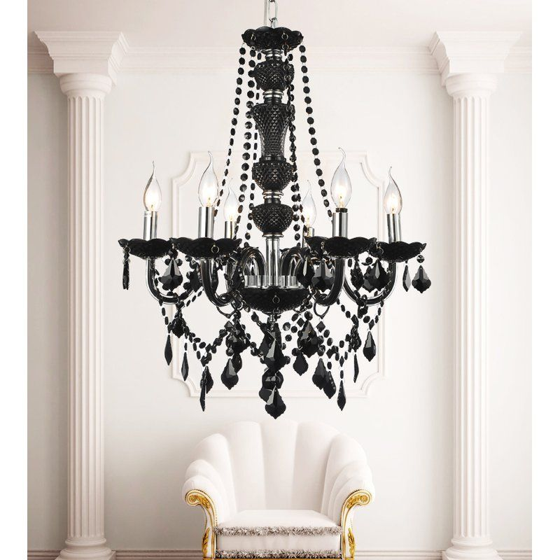 Bokara Hills 6 Light Candle Style Empire Chandelier Black Crystal Chandelier Candle Styling Candle Style Chandelier