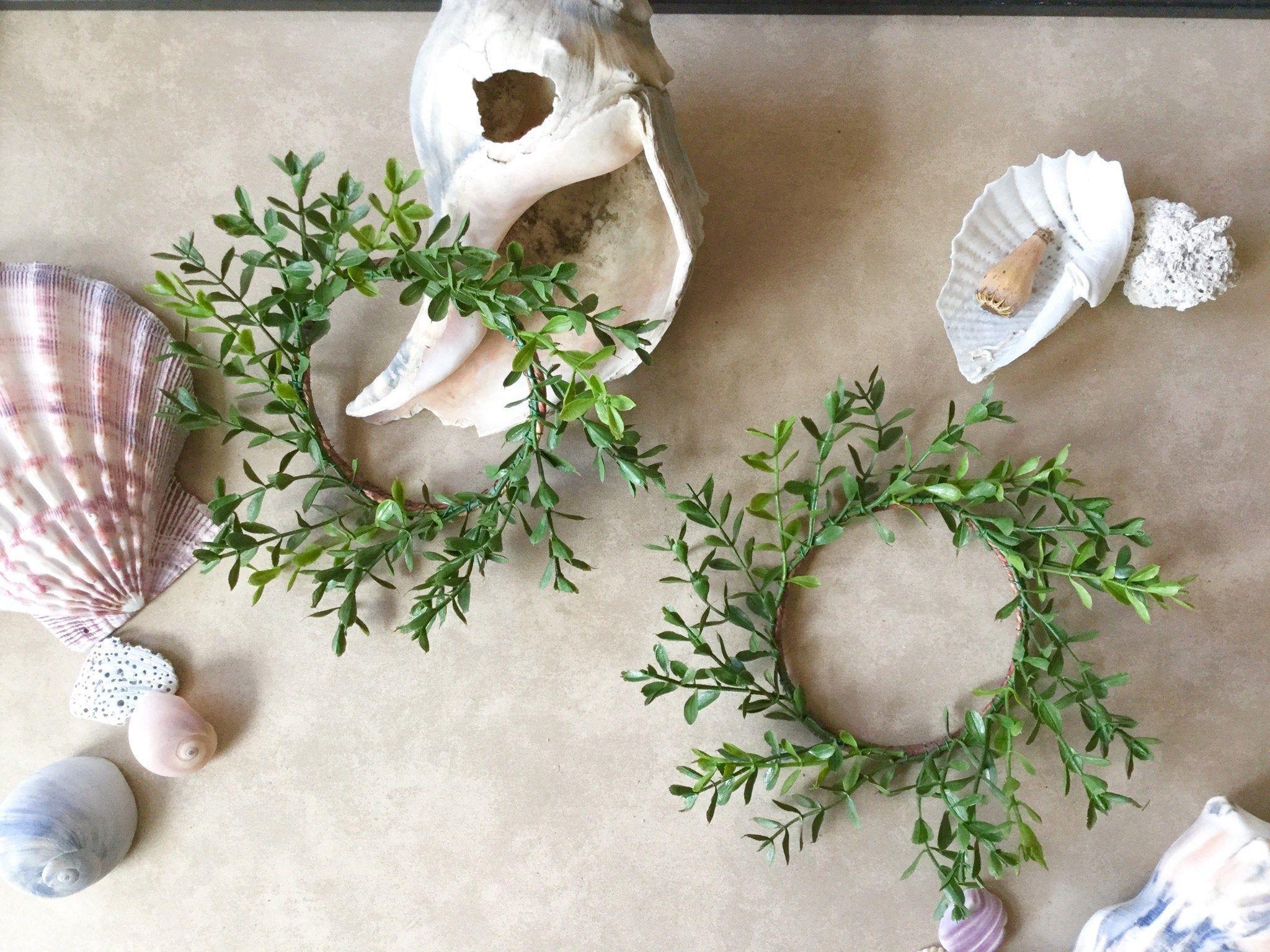2 Pack Minimalist Boxwood Wreath, Candle Ring Wreath