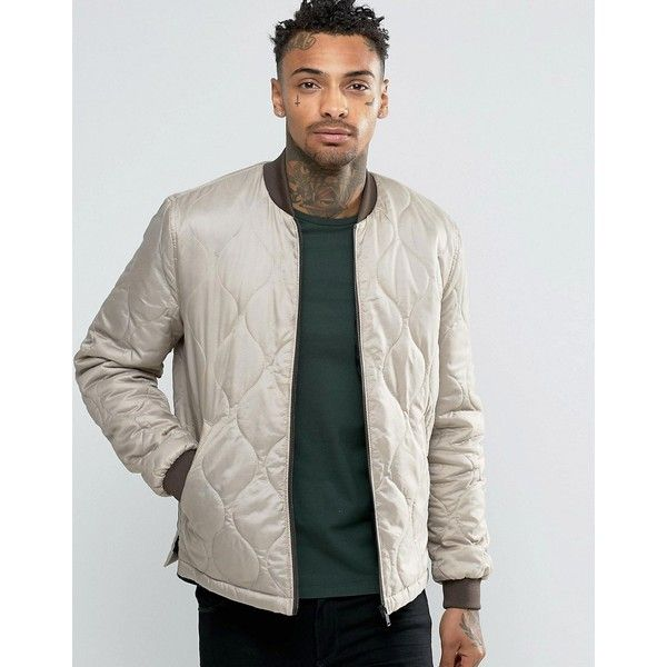 Asos Bomber Jacket In Quilted Ripstop In Light Grey 1 505 Dop Liked On Polyvore Featuring Men S Fashio Quilted Jacket Men Bomber Jacket Mens Zip Up Jackets