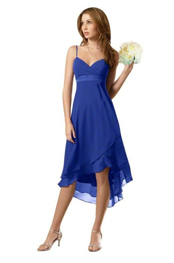 Chiffon Cobalt Blue Bridesmaid Dress