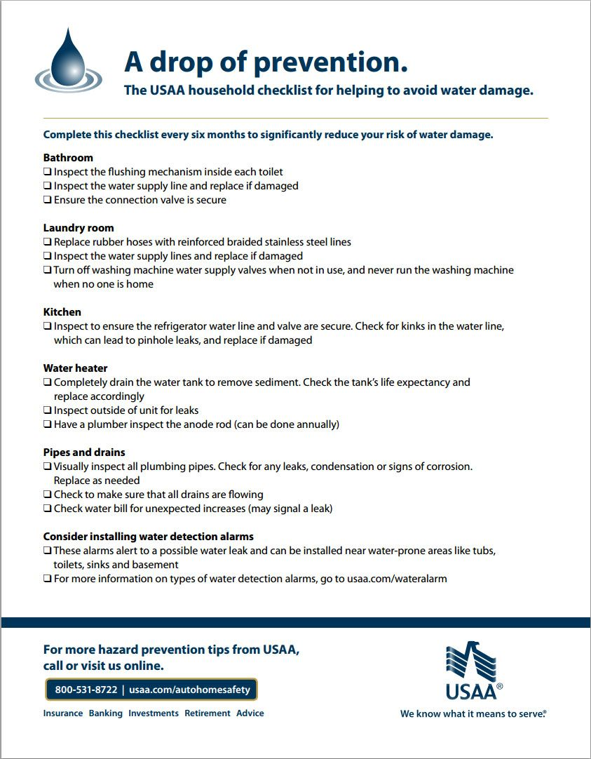 The Usaa Household Checklist For Helping To Avoid Water Damage