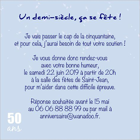 Carte d 39 invitation anniversaire 50 ans popcarte carte for Decoration 50 ans homme