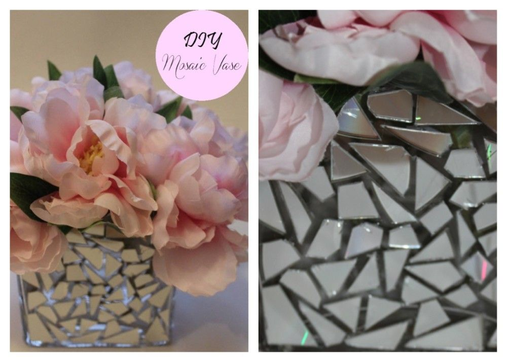 DIY Mosaic Vase Wedding Centerpiece Cheap Pink PeoniesCD