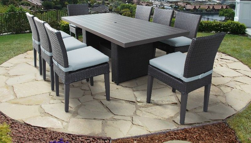 Belle Rectangular Outdoor Patio Dining Table W 8 Armless Chairs