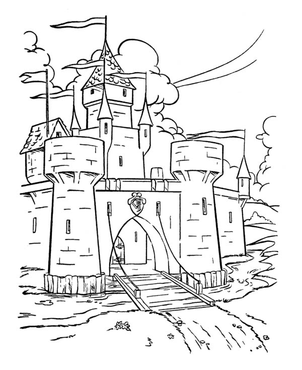 Wonderful Drawing Medieval Castle Coloring Page Kids Play Color Castle Coloring Page Coloring Pages Castle Drawing