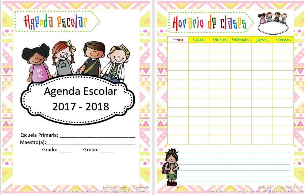 Bonita y organizada agenda para el ciclo escolar 2017 – 2018 editable en WORD | Material Educativo