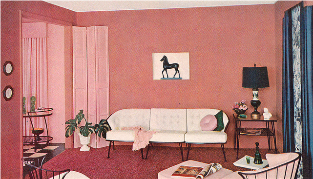Sunset rose Mid-century living room from Sherwin-Williams\' 1956 Home ...