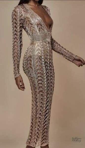 Beach dress leyla gold crochet #crochetbeachdress