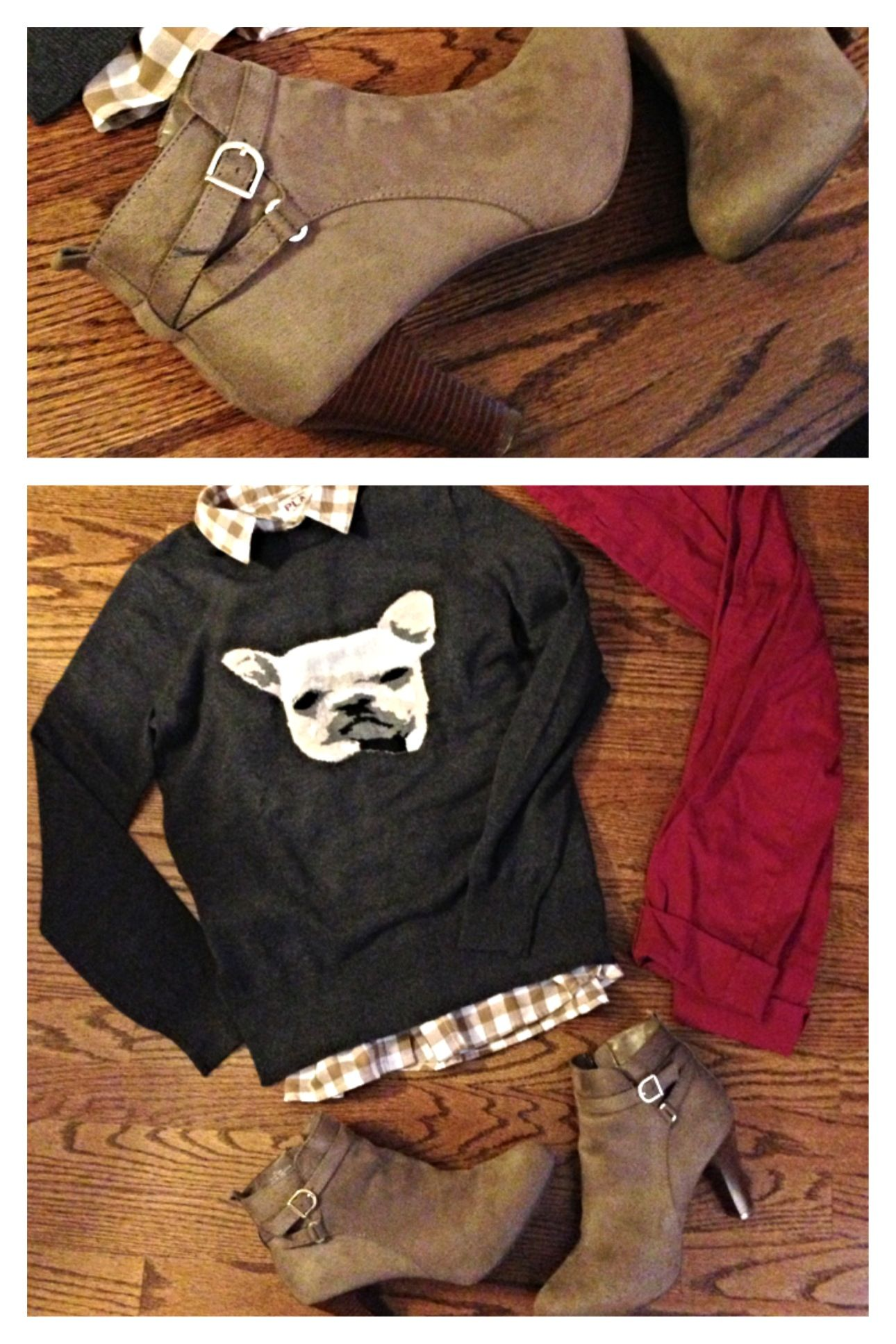 Flannel shirts for dogs  Fall outfit  love the French bulldog JCpenney dog sweater Old