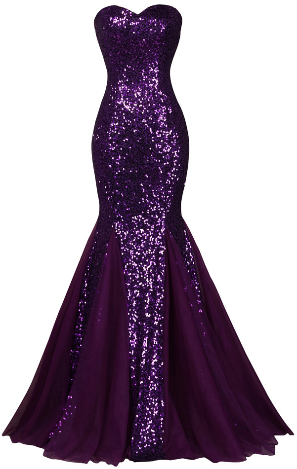 Sequin Long Sparkly Dark Salmon Purple Evening Dress | Dresses ...