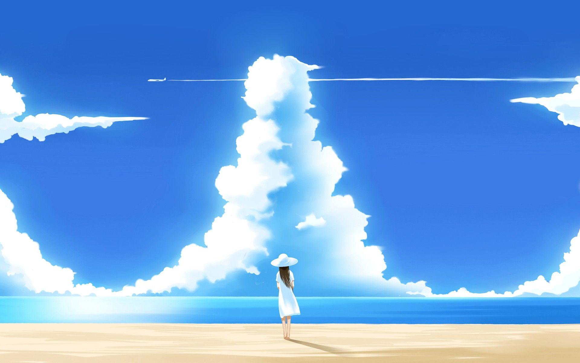 Aircraft Beach People Anime Sky Clouds Anime Girls