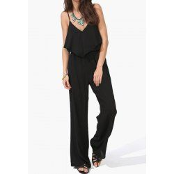 Sexy Spaghetti Strap Low Cut Backless Chiffon Solid Color Women's Jumpsuit
