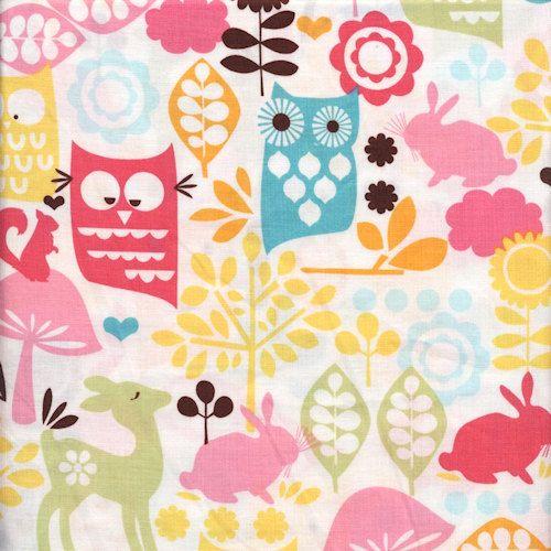 1/2 yard Forest Life : Watermelon Pink Yellow Owls Squirrels Kids ... : designer quilt fabric - Adamdwight.com