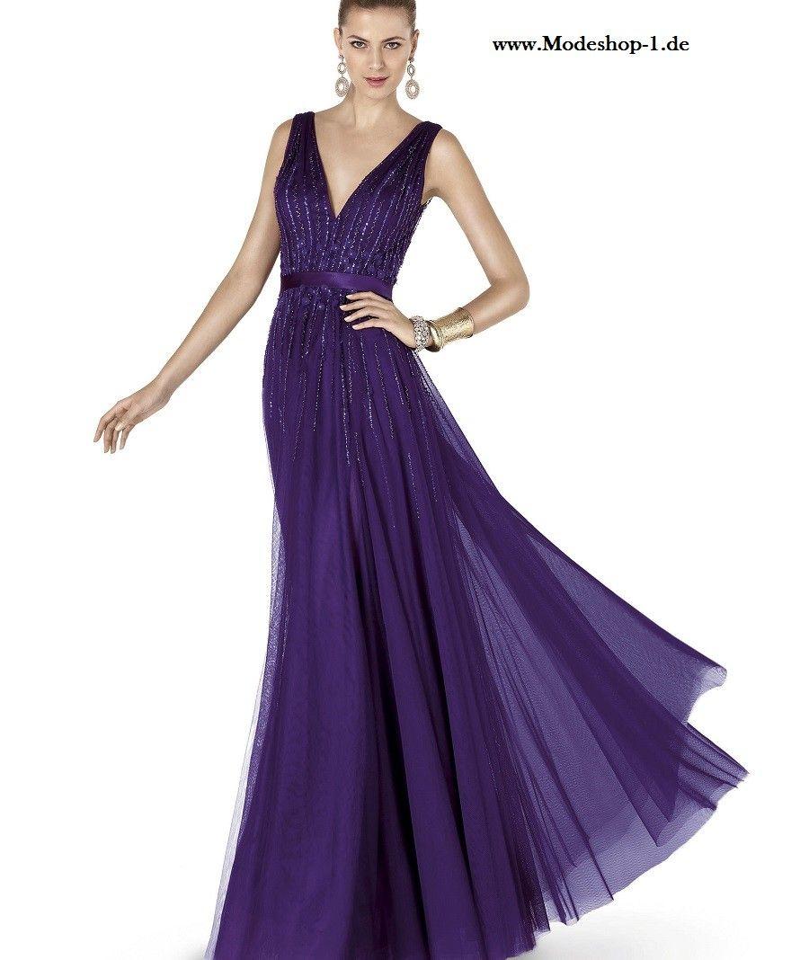 V Dekollette Abendkleid 14 in Dunkel Lila  Abendkleid, Kleider