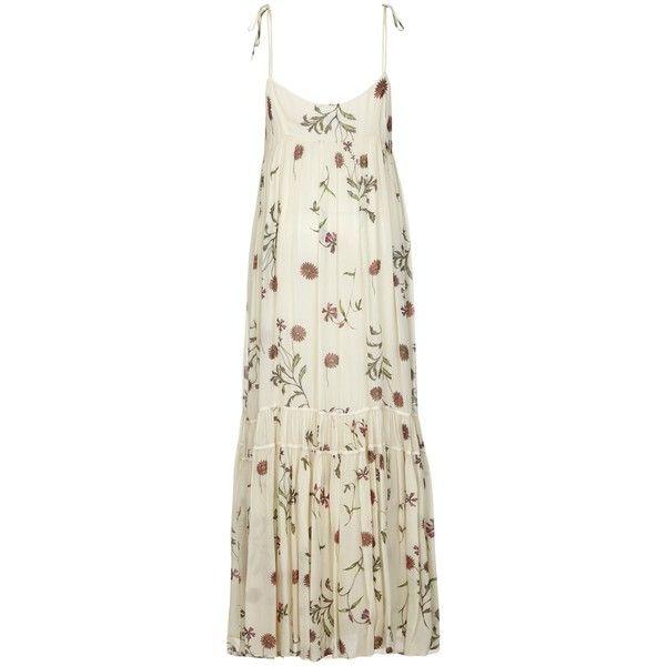 Ghost Janie Dress, Alicia Botanical (£145) ❤ liked on Polyvore featuring dresses, midi dress, floral print dress, empire waist maxi dress, long summer dresses and long-sleeve mini dress
