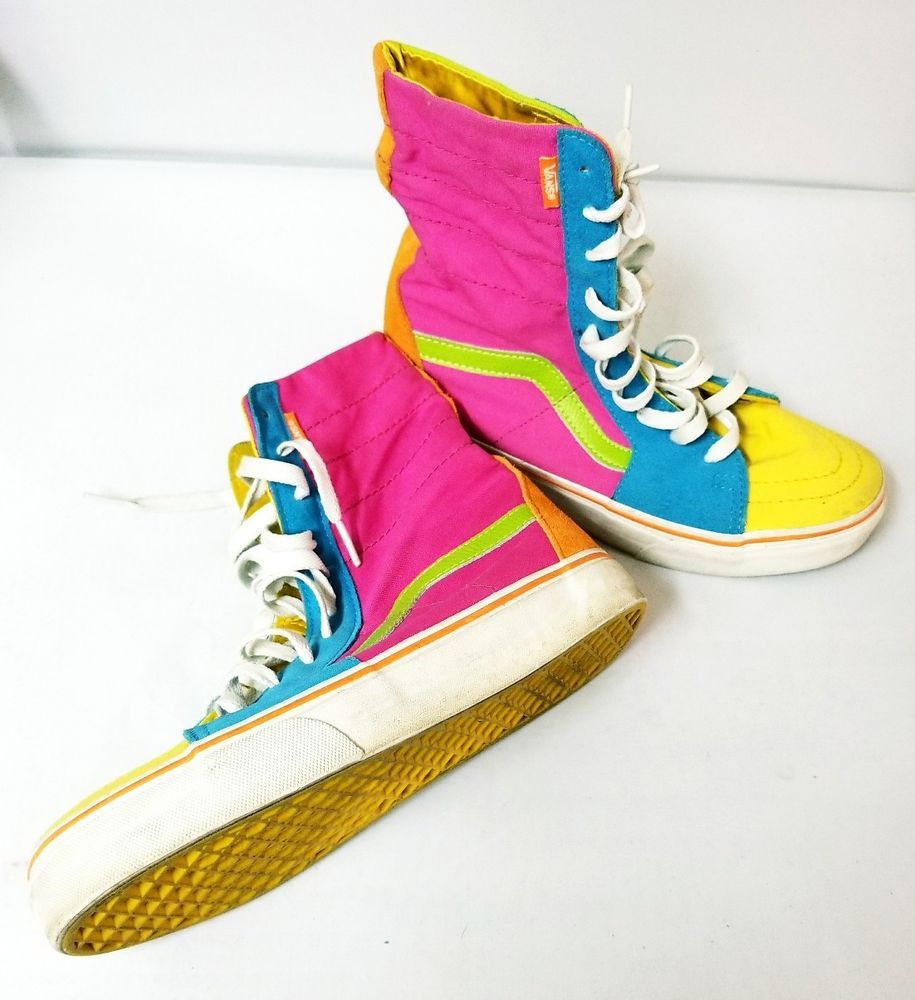 4549019574 Vans Off The Wall Vintage 80s Hi Top Shoes Men s Sz 8.5 Colorblock Neon  Rare