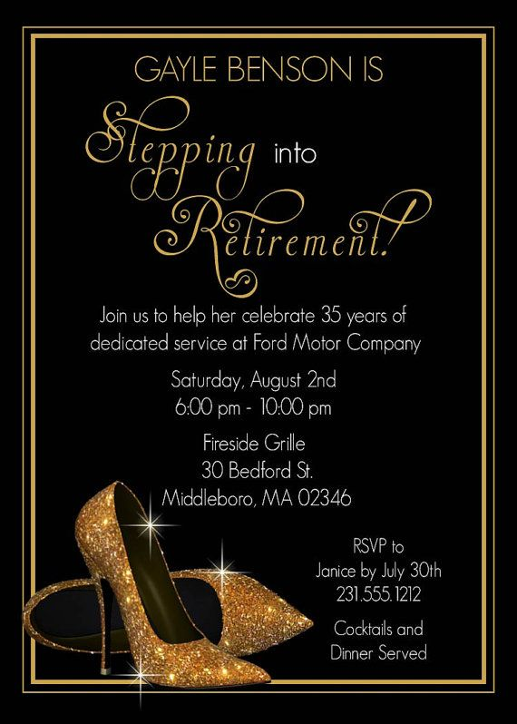 gold shoes retirement invitation printable retirement party