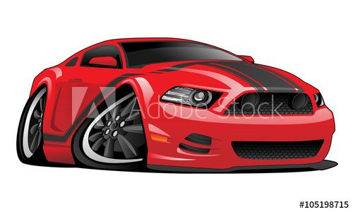 Hot Modern American Muscle Car Vector Cartoon Illustration Red With