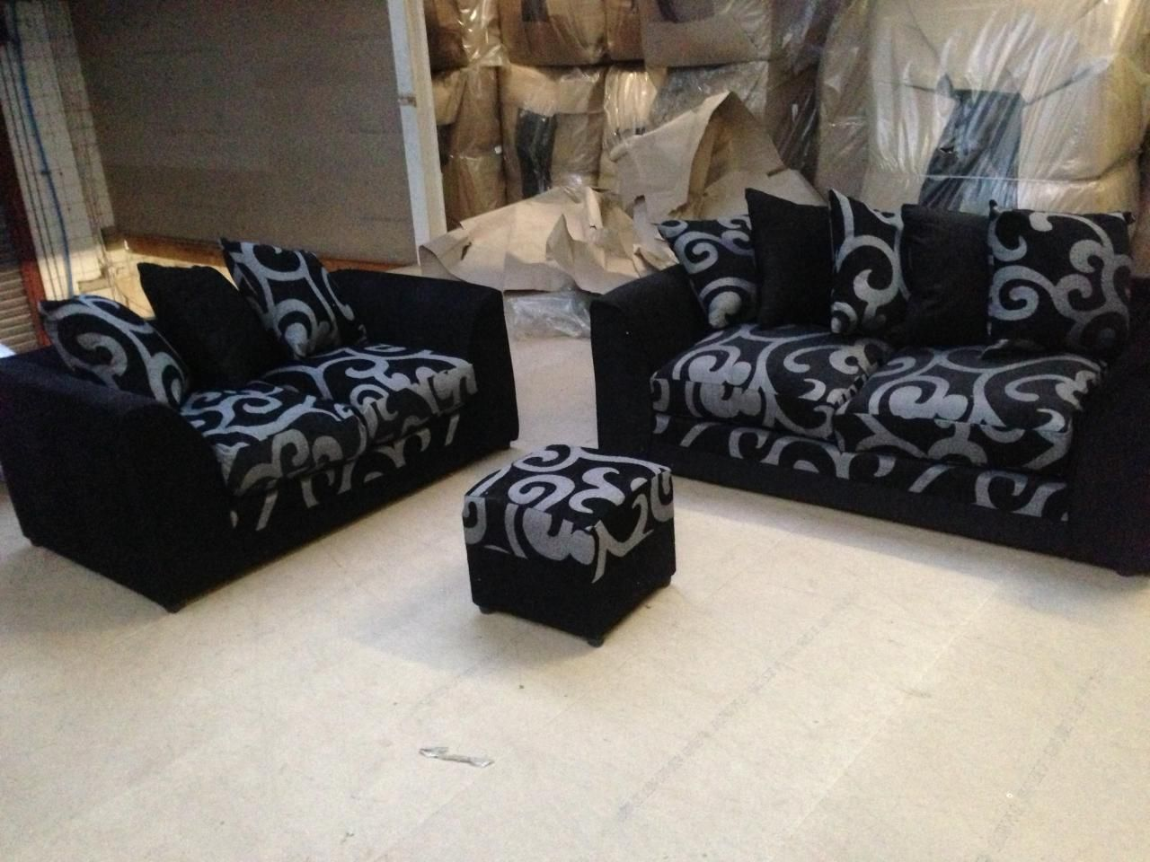 Zina Dylan Three Seater And Two 3 2 Seater Sofa Set In Fabric In Black Grey Colour Black
