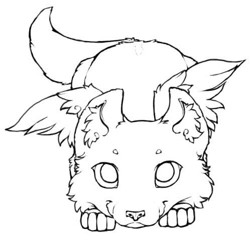 Photo of Winged Wolf Cub – Lineart 2 by little-kitsune on DeviantArt
