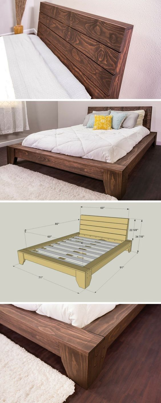 Angled Back Board Diy Platform Bed Bedroom Diy Diy Bed Frame