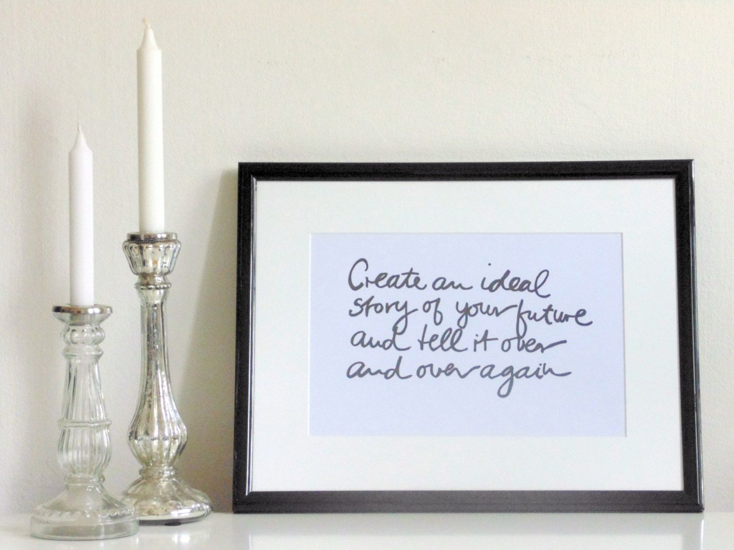 Create black on white din a wall art print quote handmade