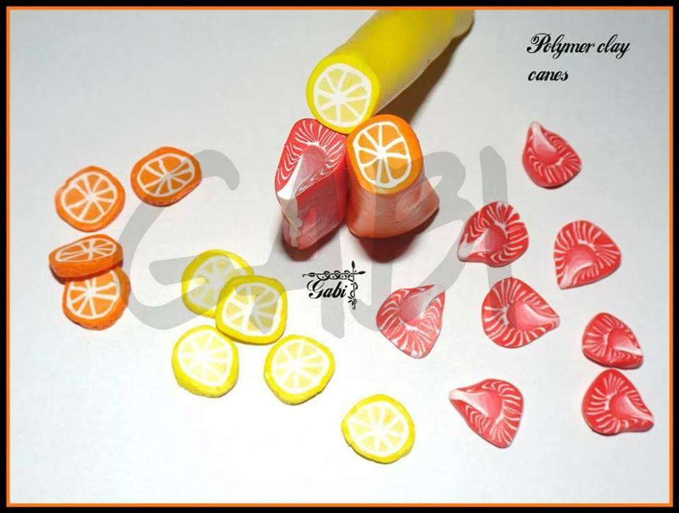 Orange lemon strawberry polymer clay canes