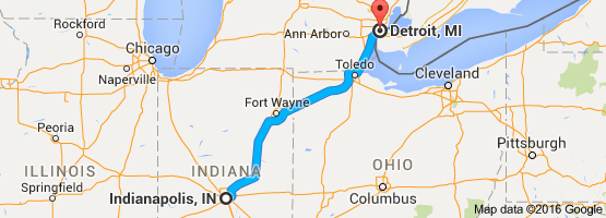 map detroit to chicago Map From Indianapolis In To Detroit Mi Drive Time Is 4 Hours And map detroit to chicago
