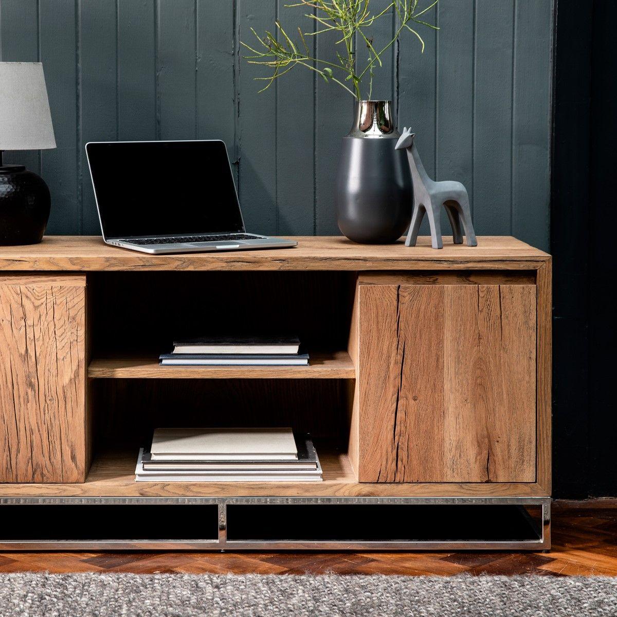 meuble tv moderne chene acier 120 cm
