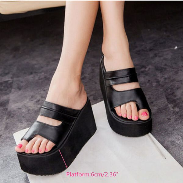 Sale 11 24 42 Women Roma High Heel Wedges Platform Flip Flops Slippers Sandals Beach Shoes Platform Slippers High Heel Wedges Platform Casual Slippers