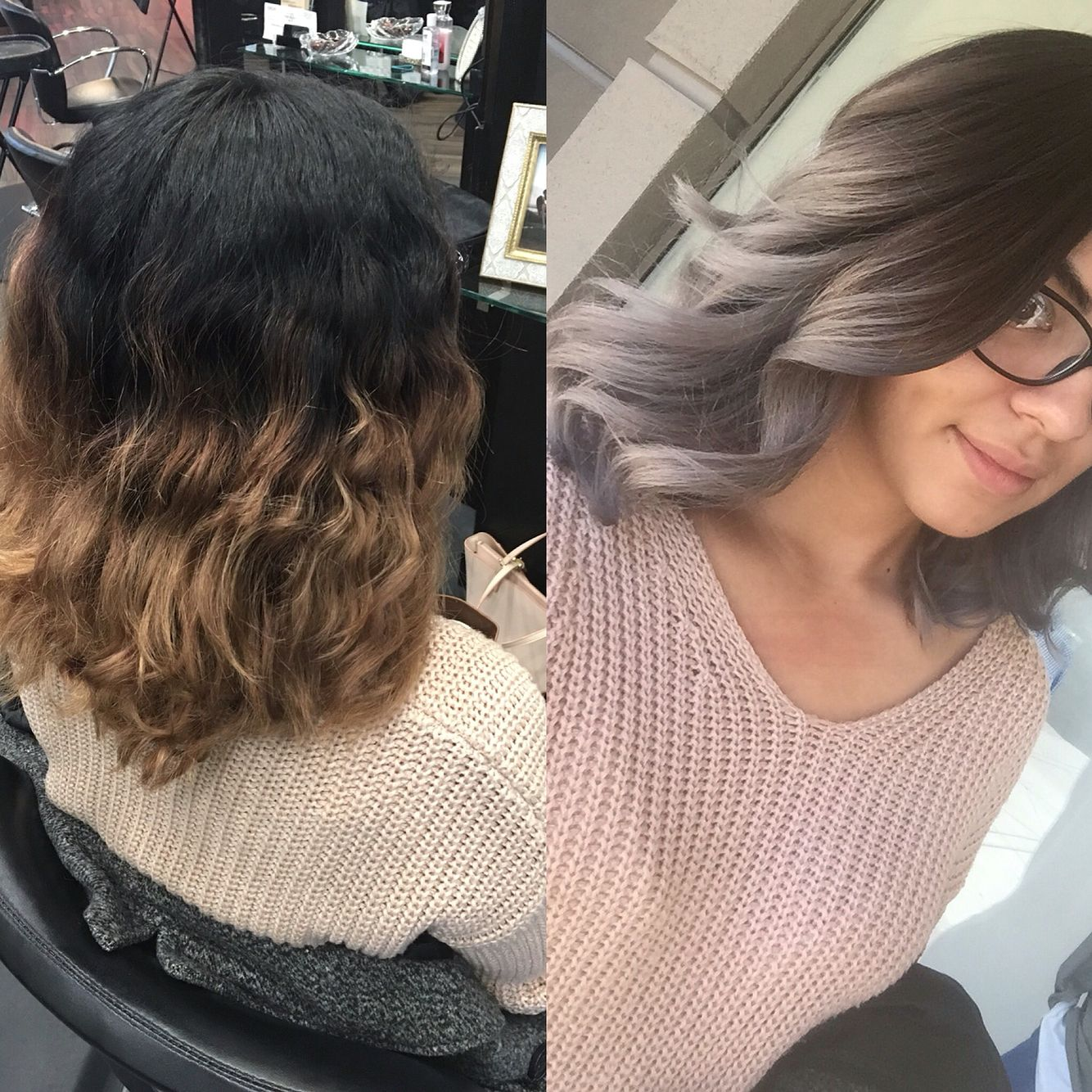 Grey ombré balayage on short hair