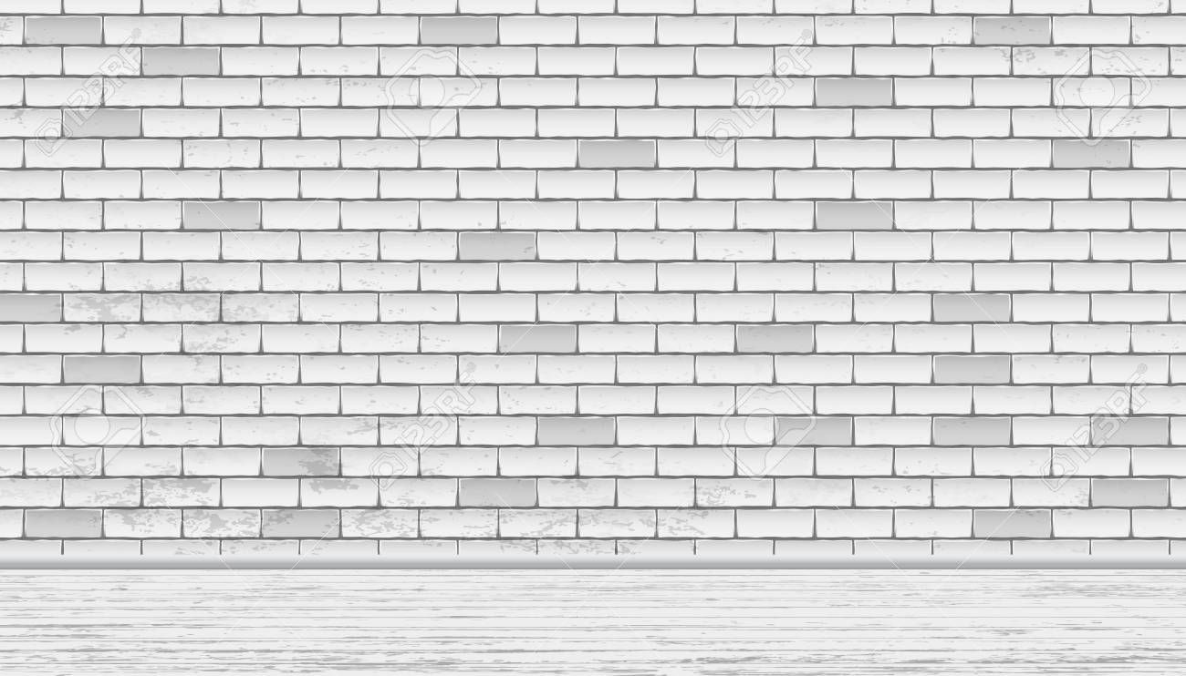 Rectangle White Brick Wall Texture With Wooden Floor Vector Illustration Affiliate Brick Wall Rectangle W White Brick White Brick Walls Brick Wall