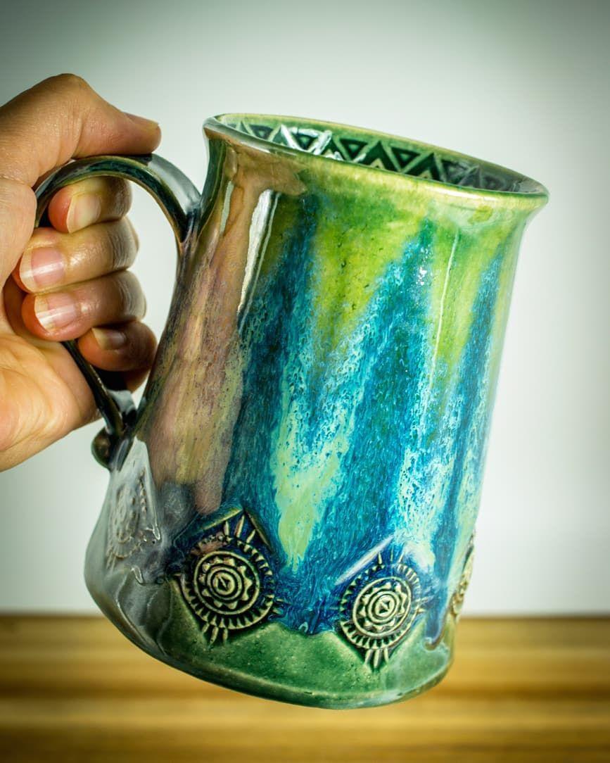 Bierkrug glasiert mit Amaco Potters Choice und Celadon # ...