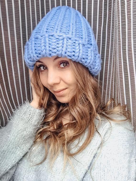 f3451dba15d996 Hand Knitted Light Blue Merino wool hat women winter Cozy Knit big wool  hand knitted warm hat