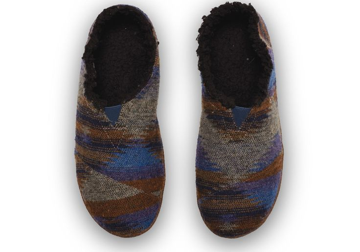 Happiness in a shoe - TOMS men's Blue Wool Slippers with faux shearing lining for sheer comfort this winter.