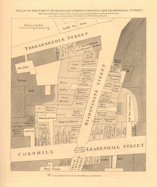 1834 Map A Plan Of The 1765 Bishopsgate Street Fire Cornhill Threadneedle St