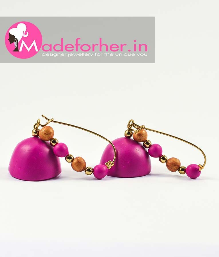 Designer Fasion Earrings Online India Magenta Gold Polymer Clay Hanging Earring