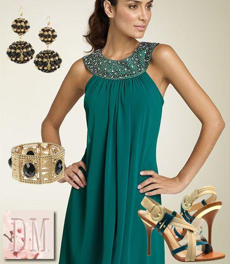 Vestido verde de noche corto