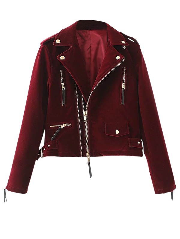 $44.99 Lapel Velvet Biker Jacket BURGUNDY M in 2019 | Red