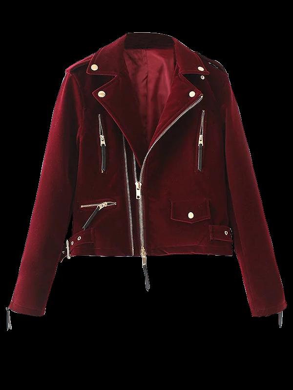 $44.99 Lapel Velvet Biker Jacket - BURGUNDY M